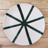 Assiette à motifs vert teal